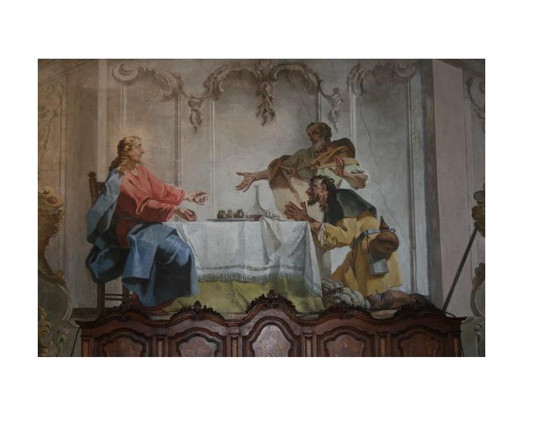 Santuario di Vicoforte – Mondovì (CN) – Cena in Emmaus di Mattia Bortoloni, 1746