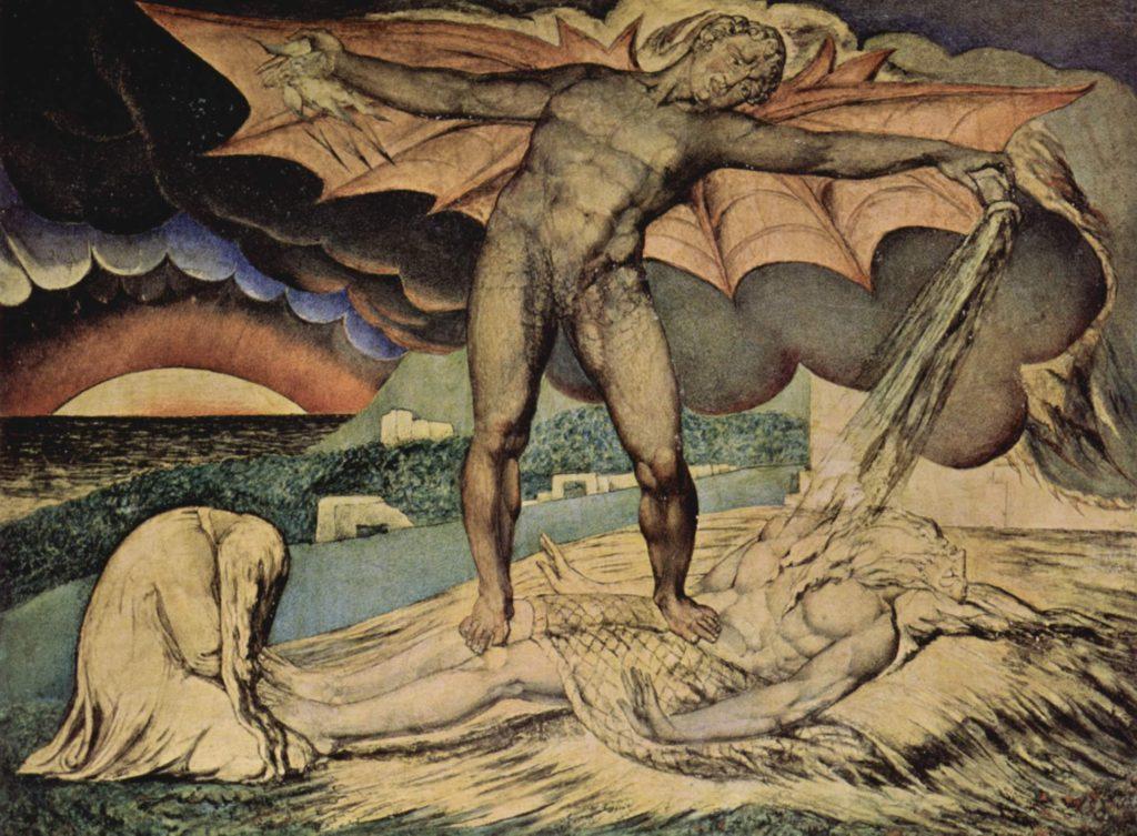 William Blake, Satana punisce Giobbe con piaghe infuocate.