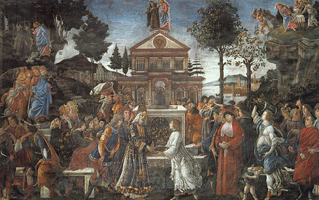 Sandro Botticelli e aiuti, Le prove di Cristo, Roma, Cappella Sistina, 1481-1482