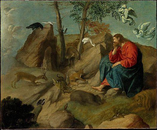 Moretto da Brescia, Gesù Cristo nel deserto con gli animali selvatici (1540 ca.), olio su tela